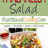 Panzanella Salad in square serving dish