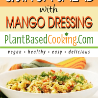 Quinoa Salad with Mango Dressing in white oval serving dish