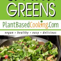 Sauteed greens in saute pan