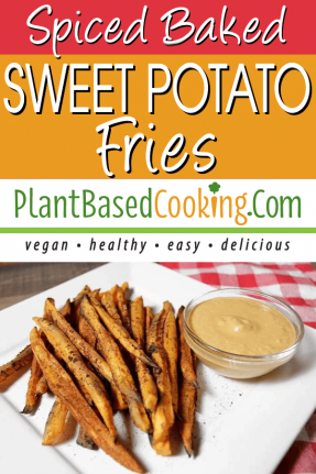 Spiced Baked Sweet Potato Fries on square white plate served with chipotle dipping sauce