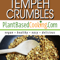 Toasty Tempeh Crumbles in fry pan