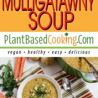Mulligatawny Soup served in white bowl