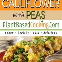 Roasted Curry Cauliflower with Peas