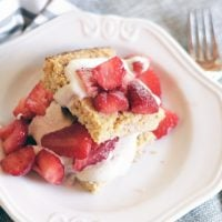 plant-based cornbread with strawberries and cream.