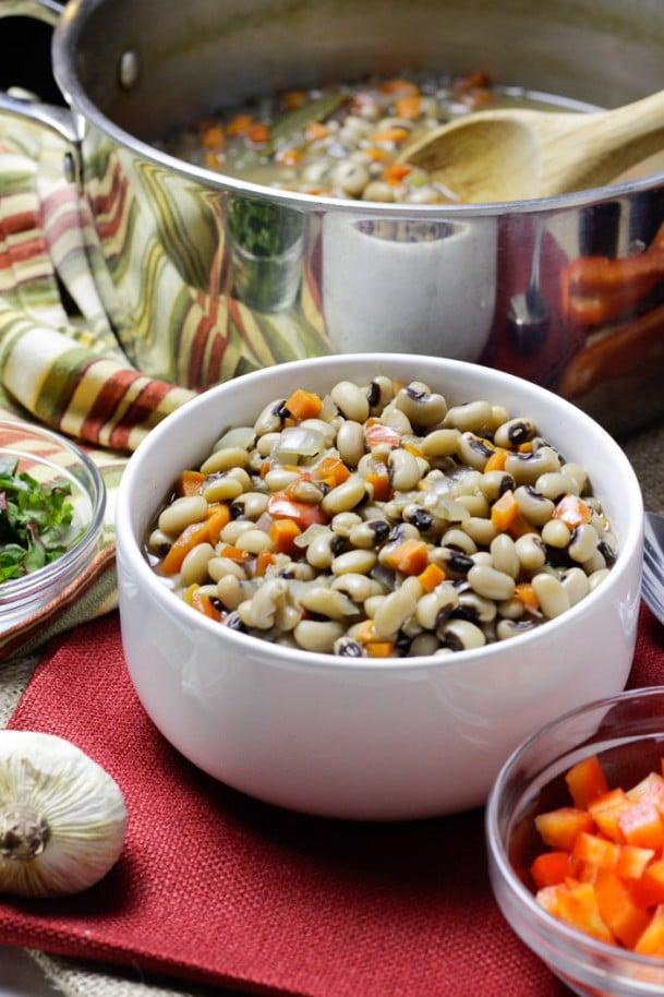 Black Eyed Peas in White Bowl
