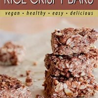 chocolate rice crispy bars pin from plantbasedcooking.com.