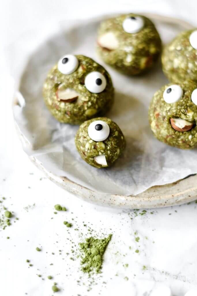 vegan halloween Spooky Matcha Energy Balls