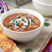 bowl of red cabbage soup