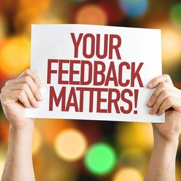 Your Feedback Matters words on white paper