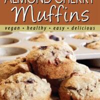 oil-free almond cherry muffins pin.